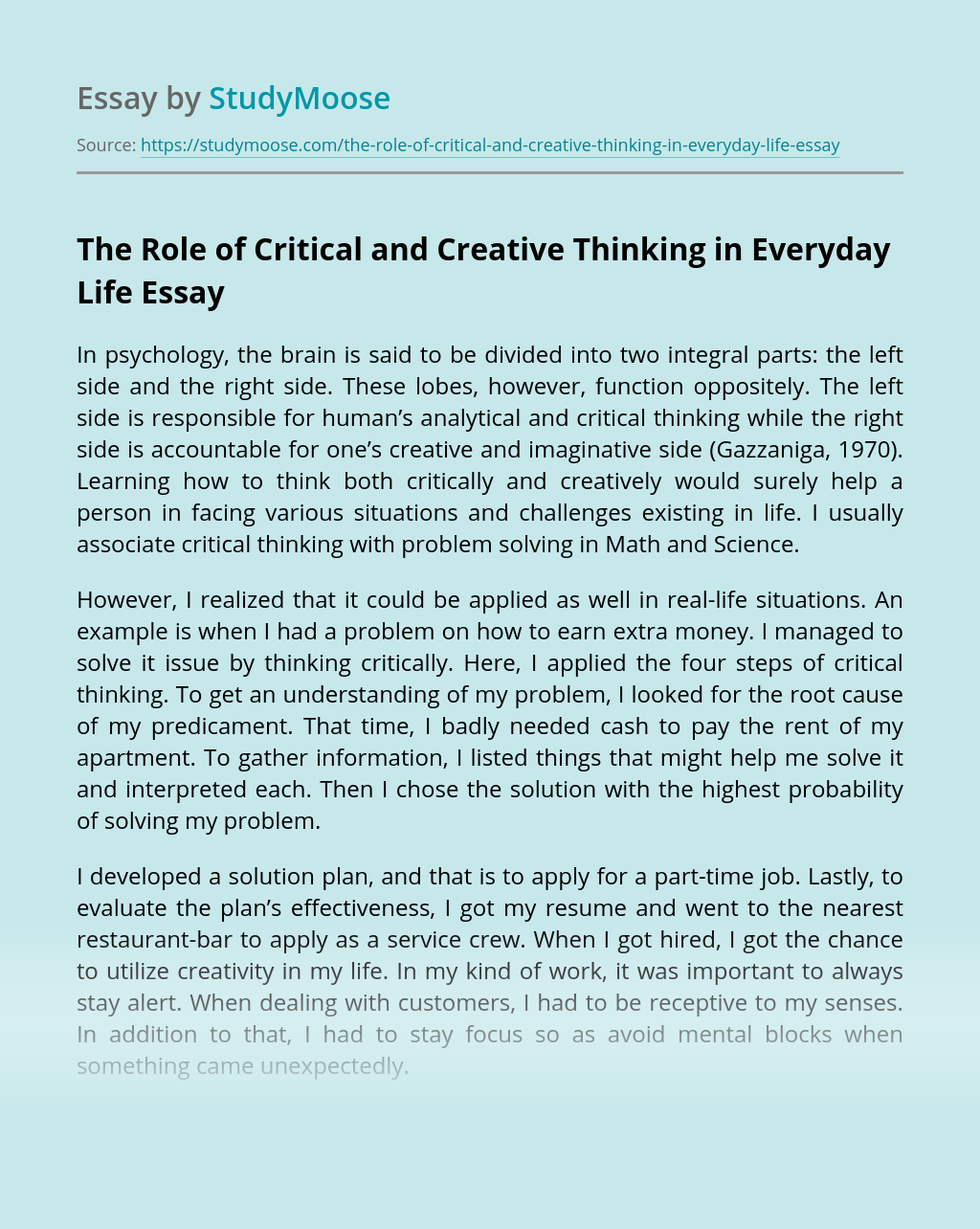 The Role of Critical and Creative Thinking in Everyday Life