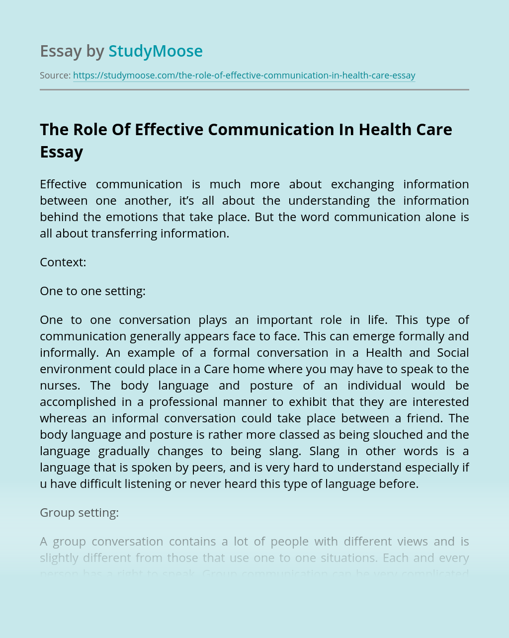 The Role Of Effective Communication In Health Care