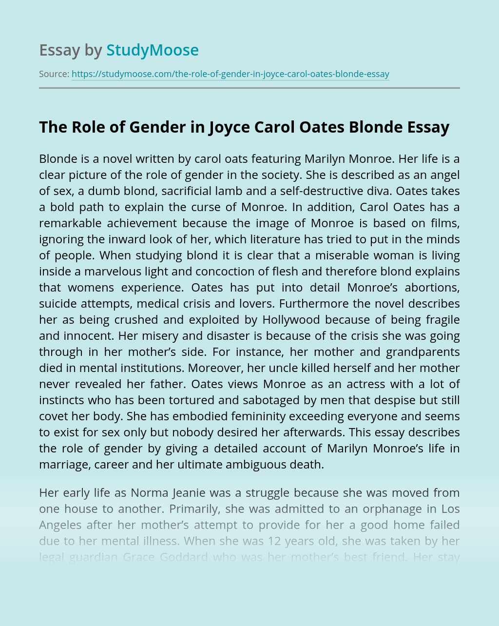 The Role of Gender in Joyce Carol Oates Blonde