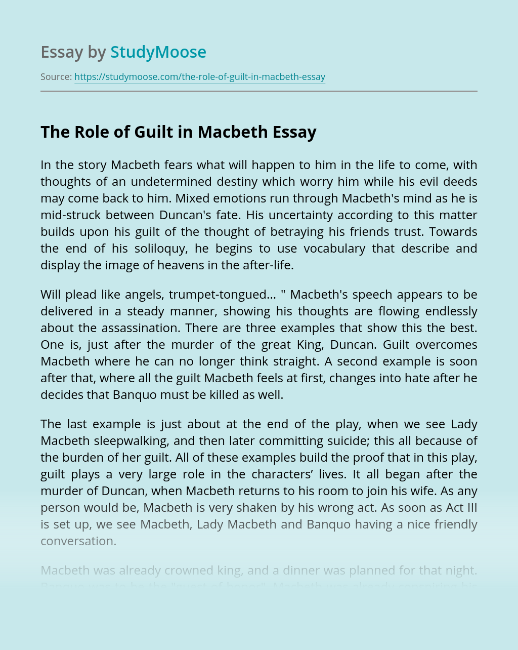 The Role of Guilt in Macbeth