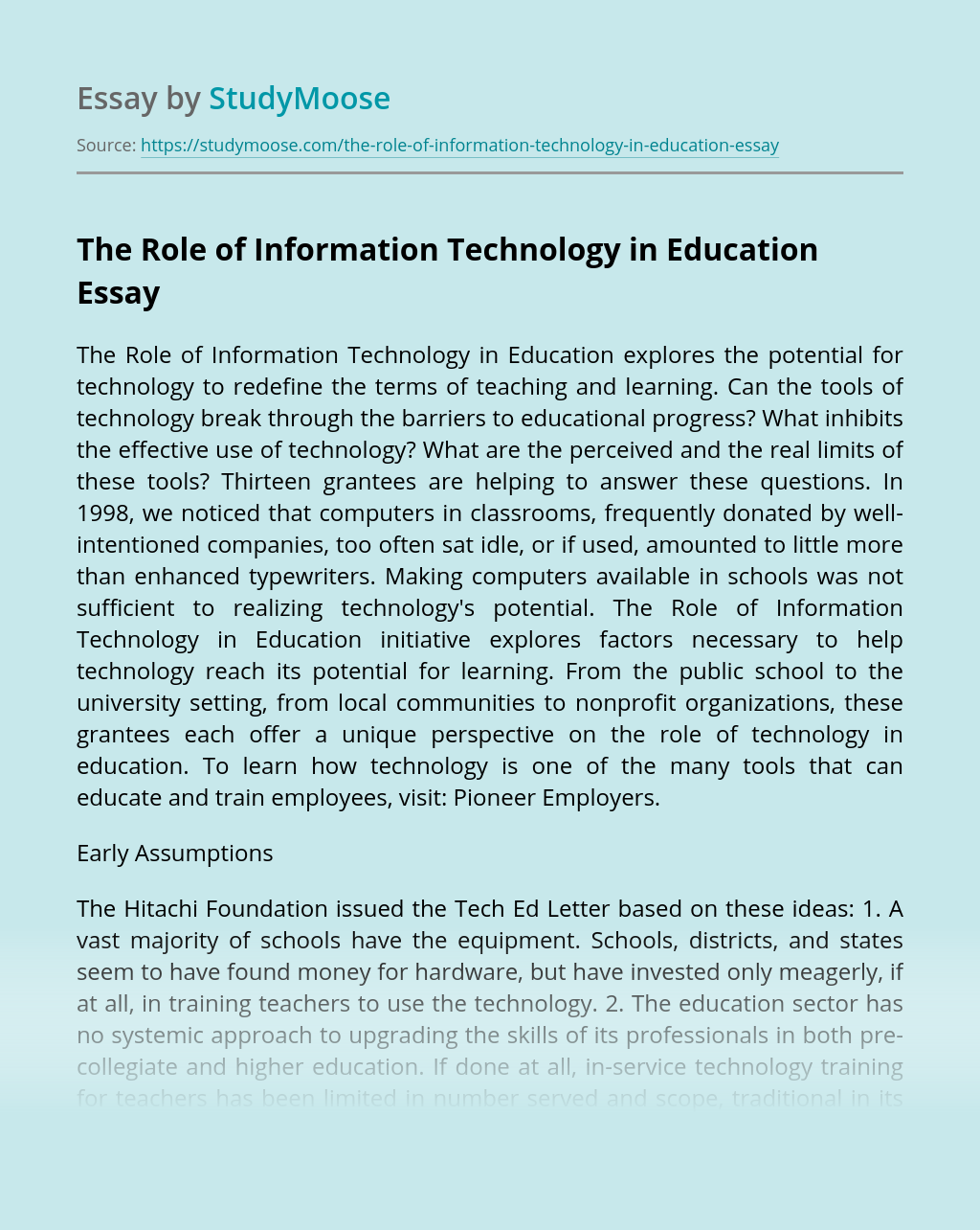 ?The Role of Information Technology in Education