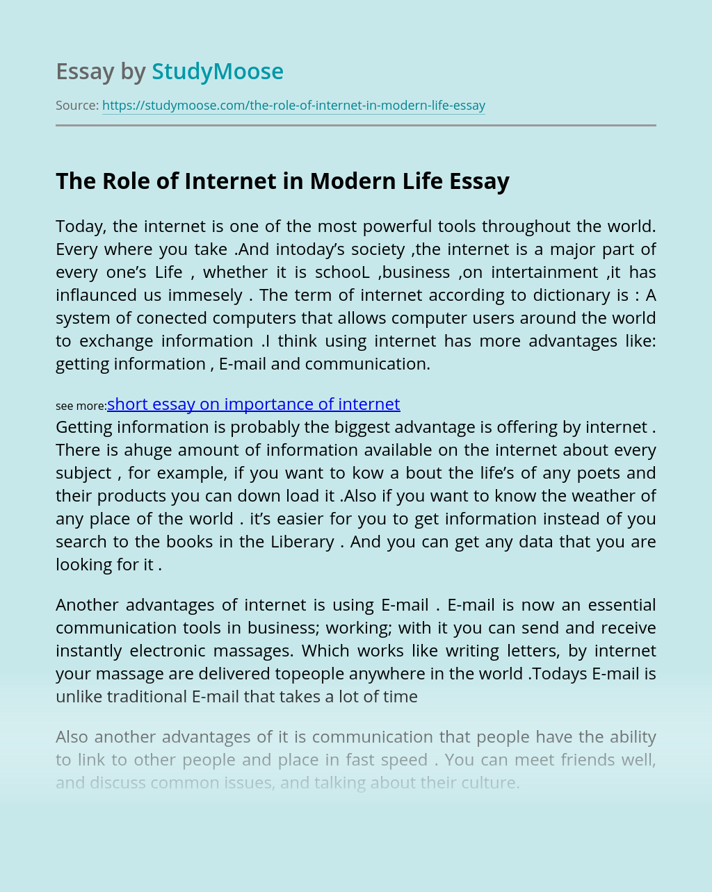 The Role of Internet in Modern Life