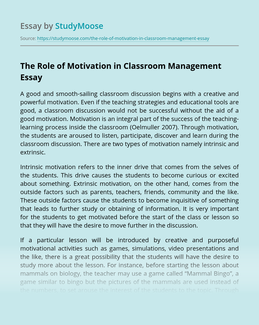 The Role of Motivation in Classroom Management