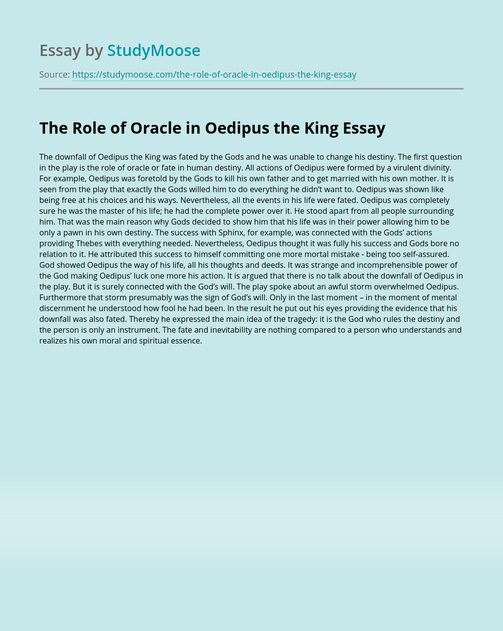 The Role of Oracle in Oedipus the King