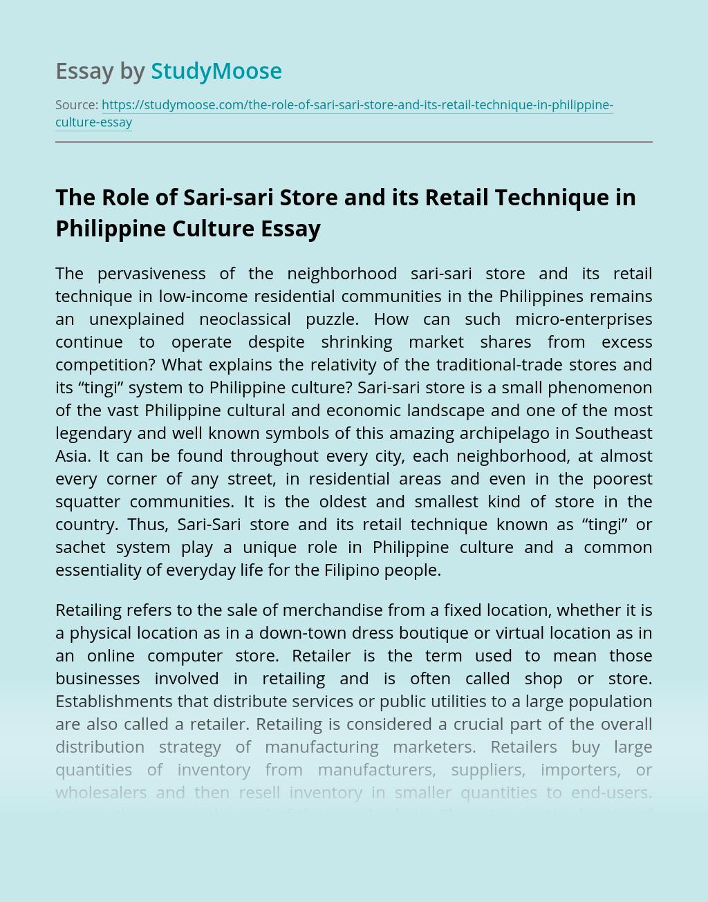 The Role of Sari-sari Store and its Retail Technique in Philippine Culture