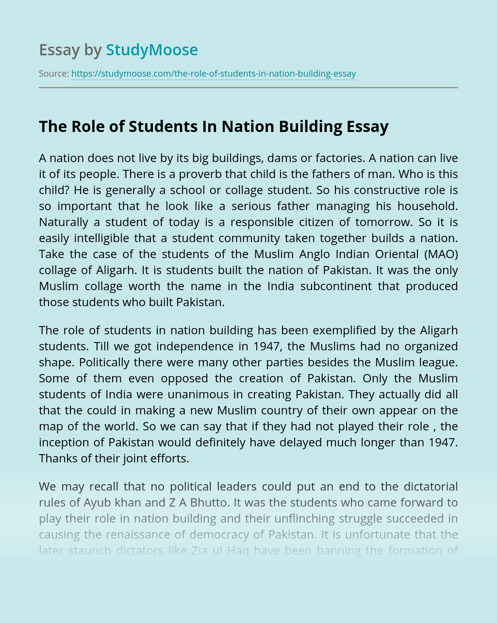 The Role of Students In Nation Building