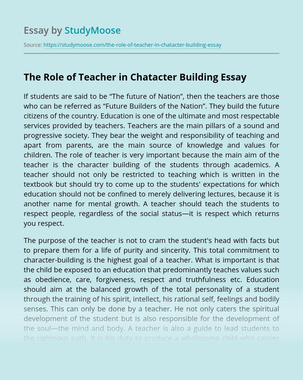 The Role of Teacher in Chatacter Building