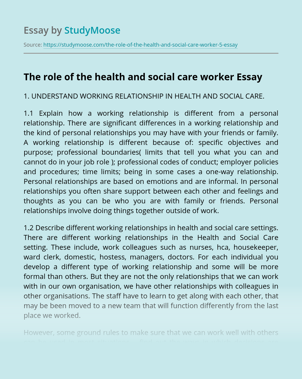 The role of the health and social care worker