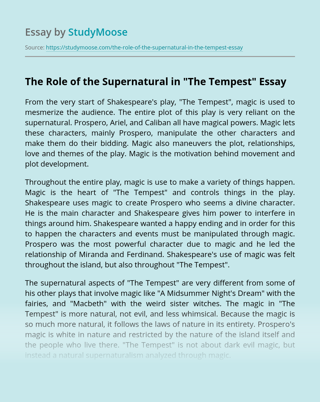 "The Role of the Supernatural in ""The Tempest"""