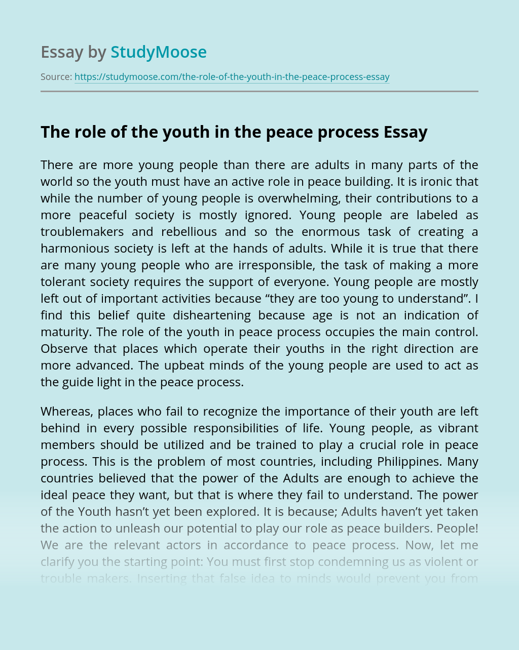 The role of the youth in the peace process