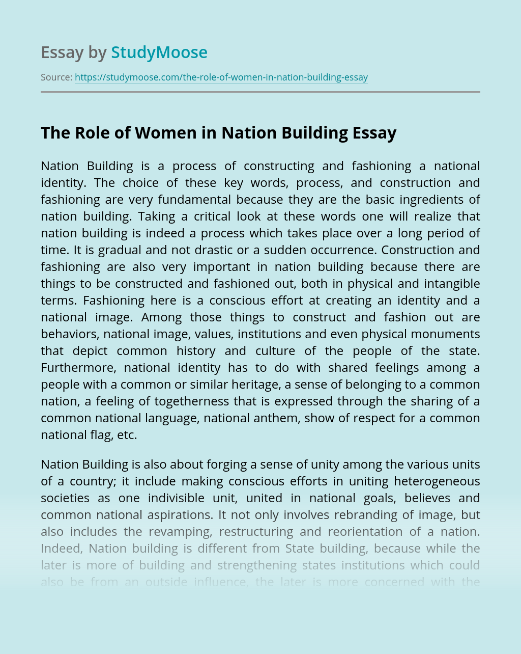 The Role of Women in Nation Building