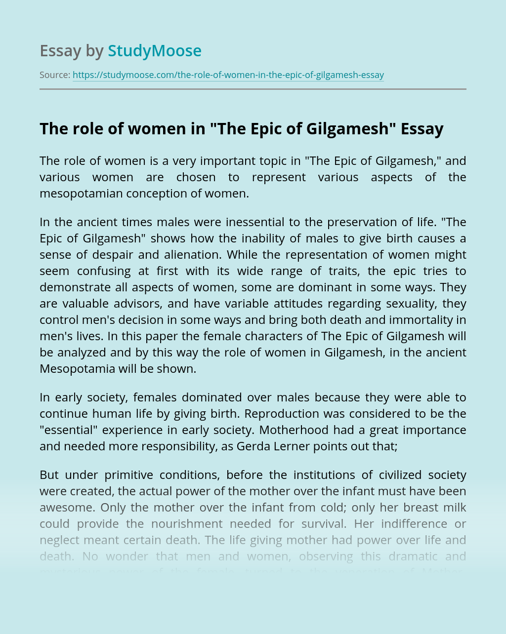 The role of women in