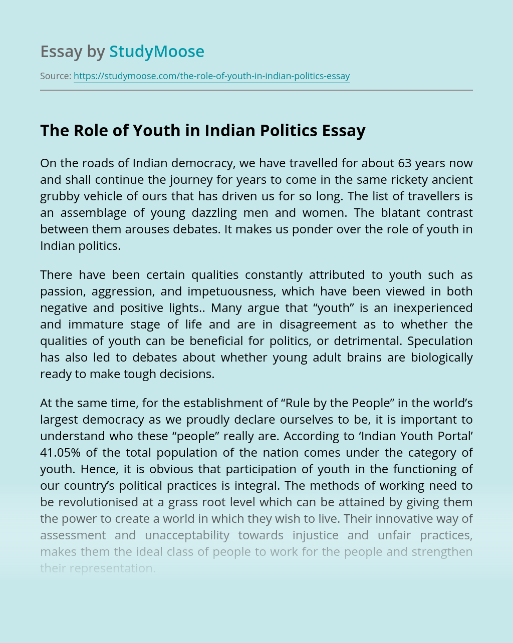 ?The Role of Youth in Indian Politics
