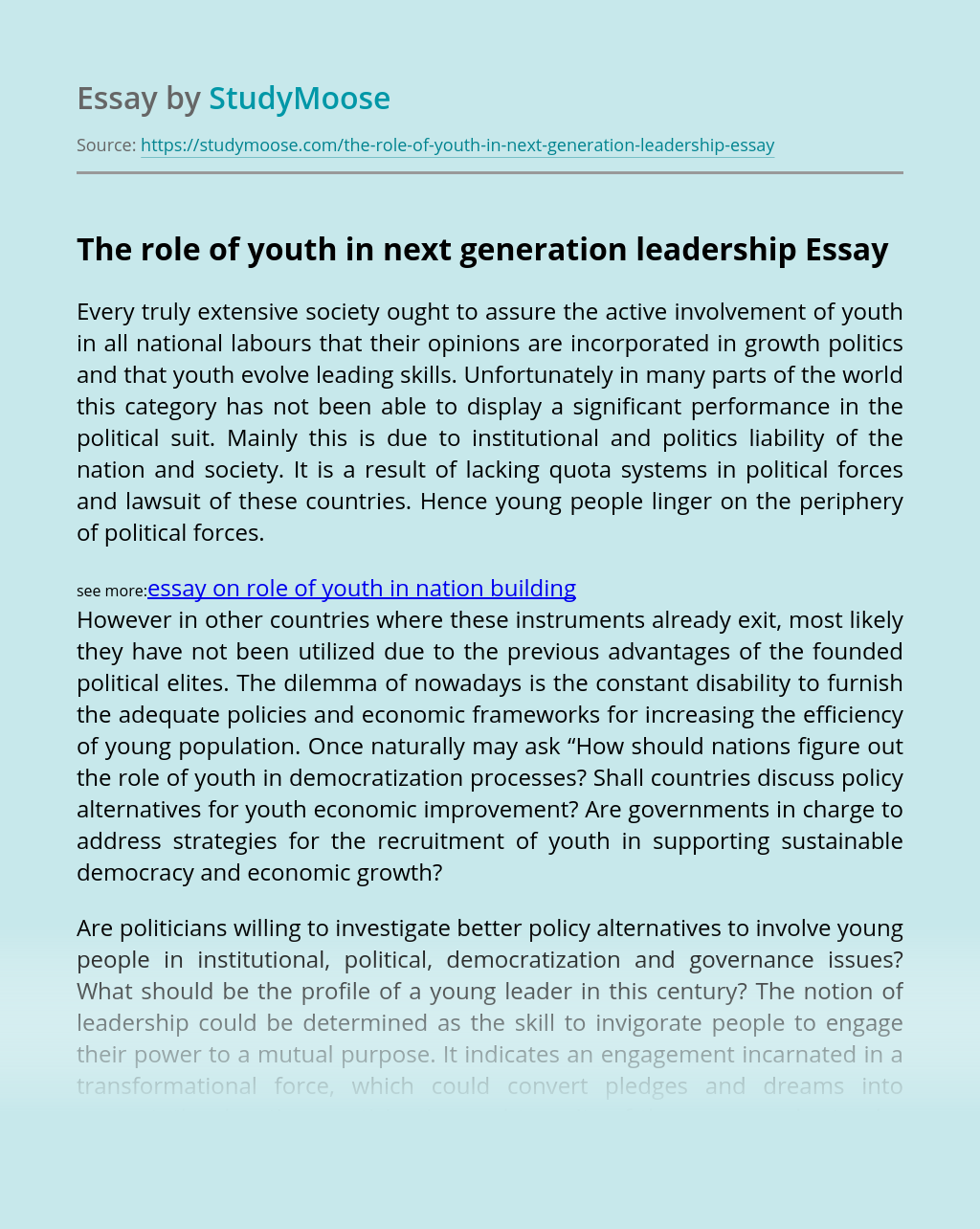 The role of youth in next generation leadership