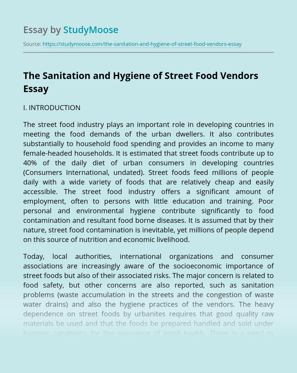 The Sanitation and Hygiene of Street Food Vendors