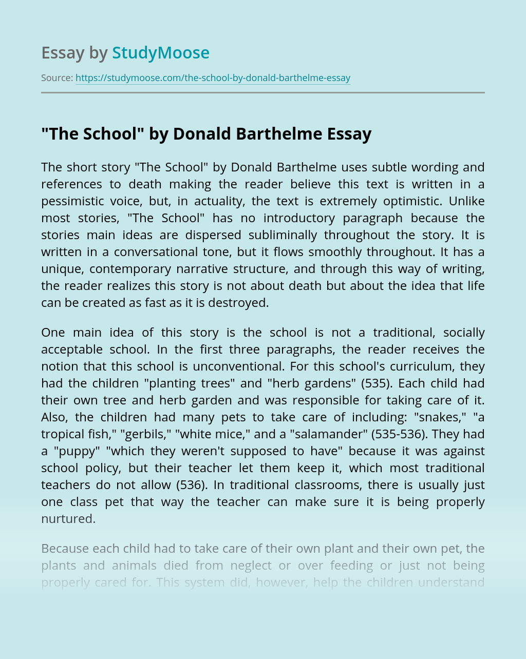 """The School"" by Donald Barthelme"