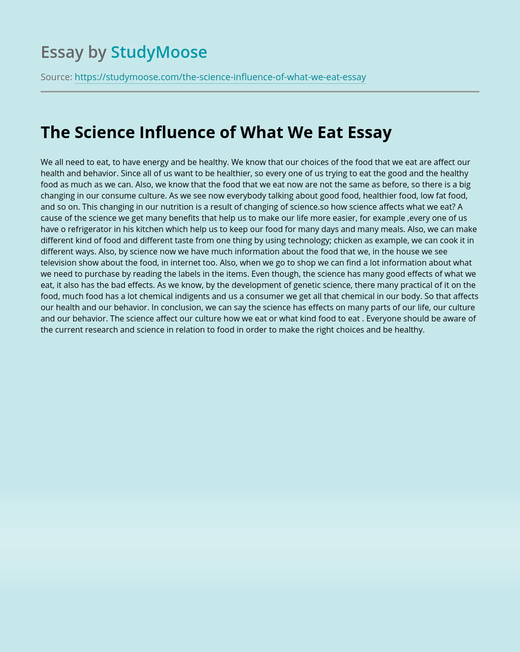 The Science Influence of What We Eat