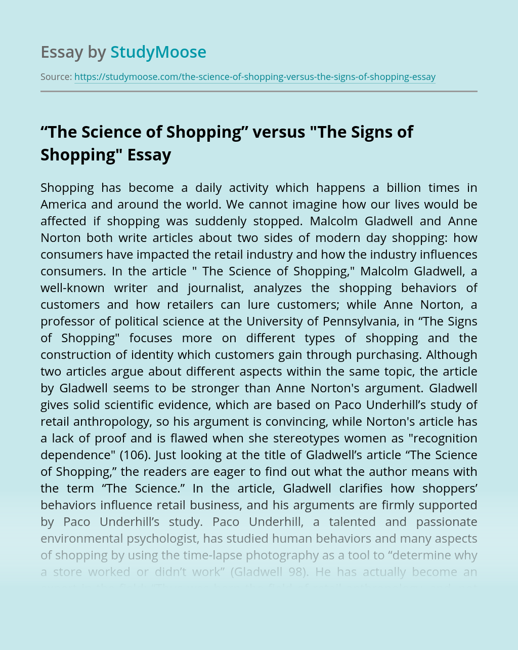 """The Science of Shopping"" versus"