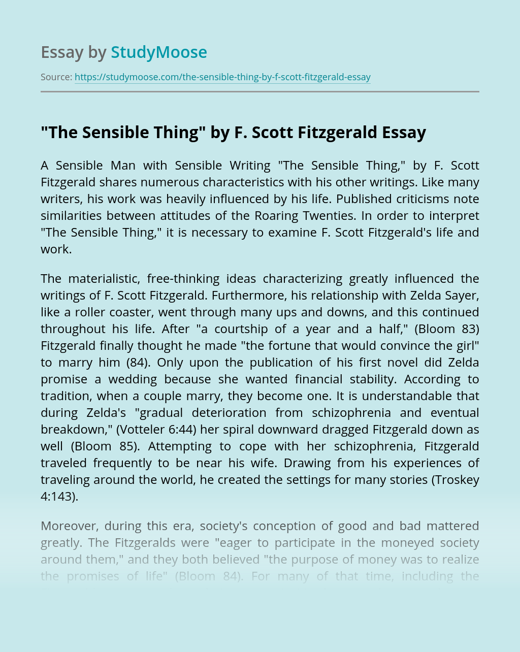 """The Sensible Thing"" by F. Scott Fitzgerald"