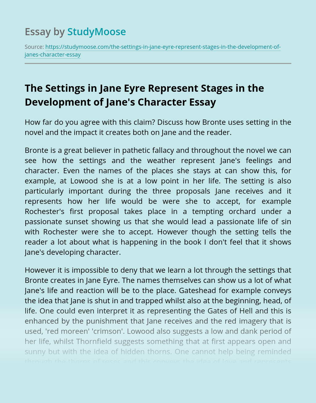 The Settings in Jane Eyre Represent Stages in the Development of Jane's Character