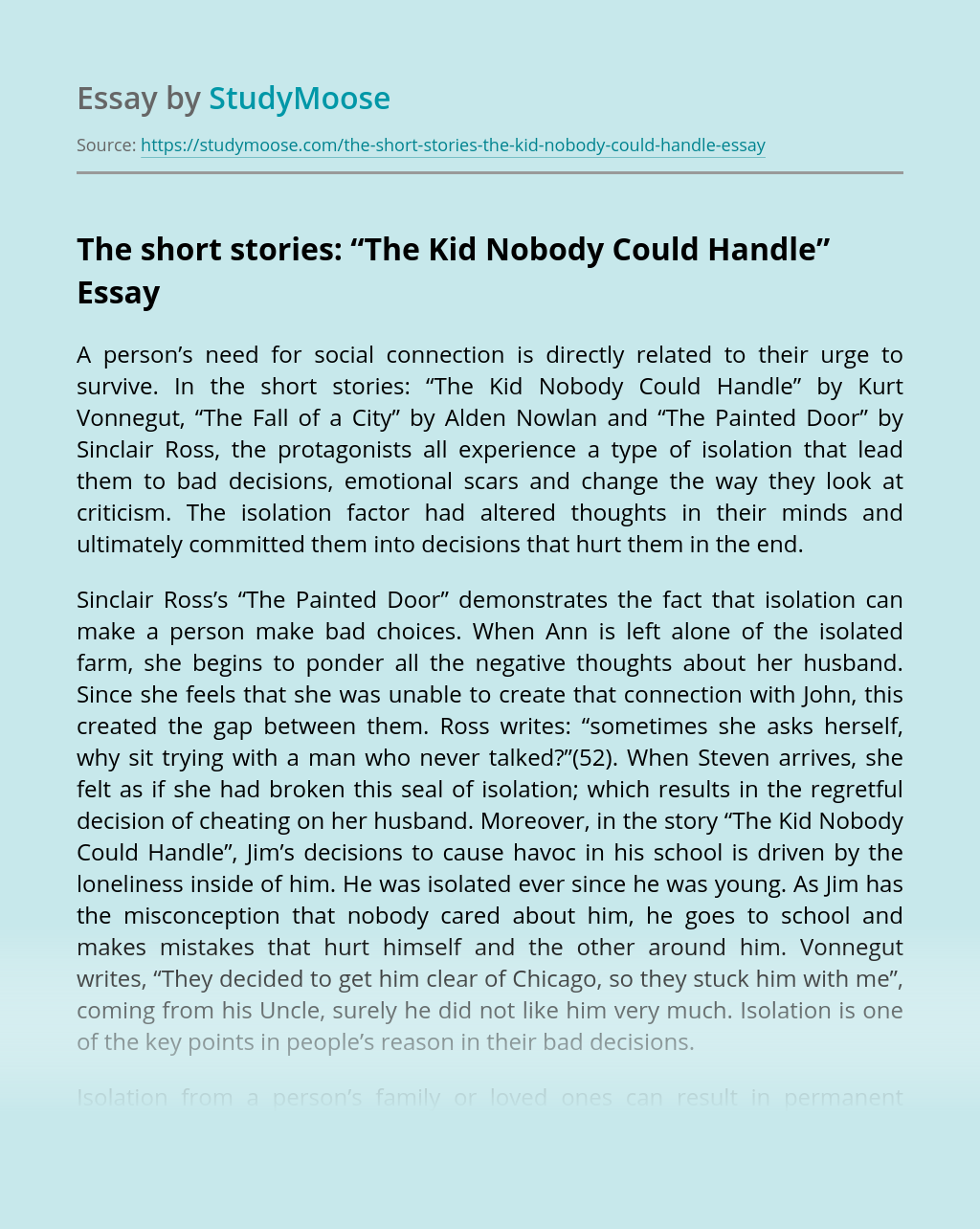 """The short stories: """"The Kid Nobody Could Handle"""""""