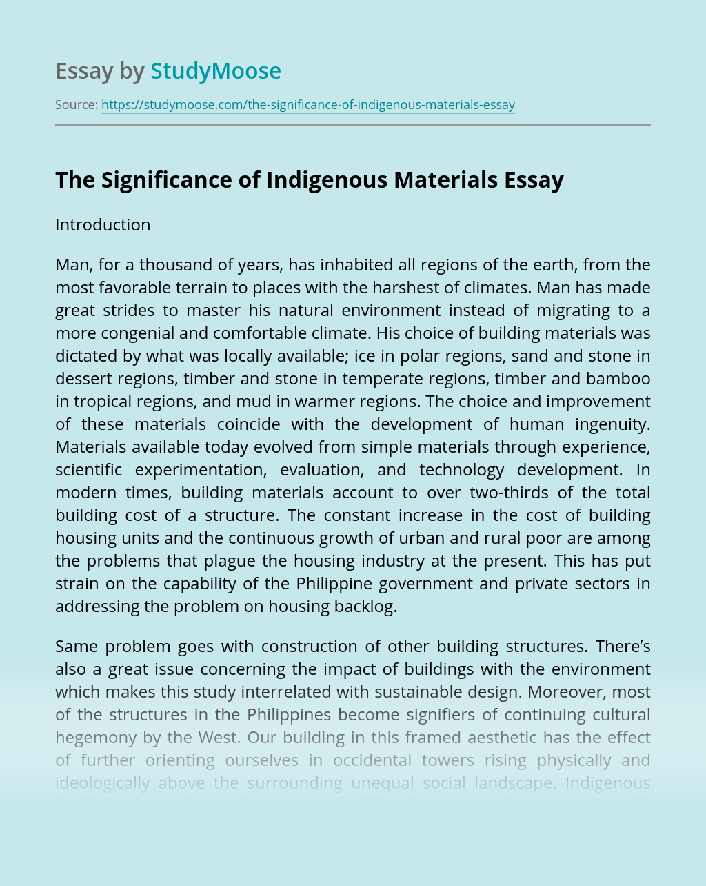 The Significance of Indigenous Materials