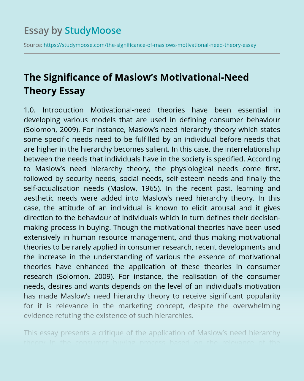 The Significance of Maslow's Motivational-Need Theory