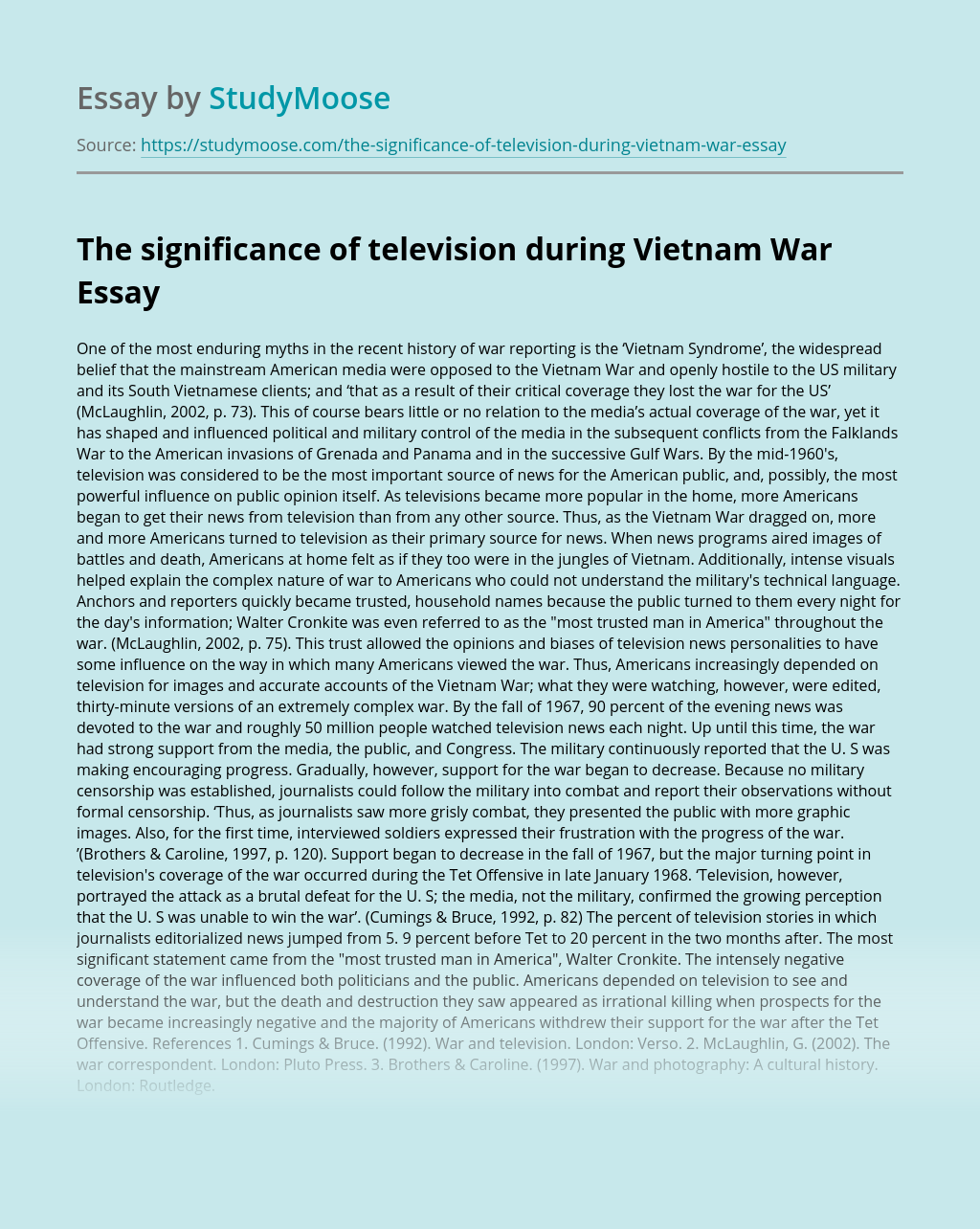 The significance of television during Vietnam War