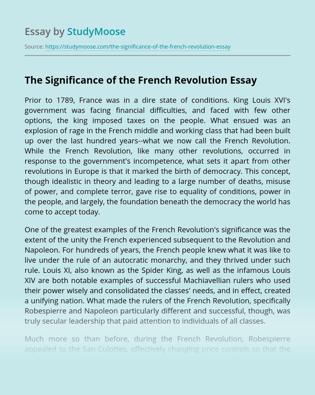 The Significance of the French Revolution