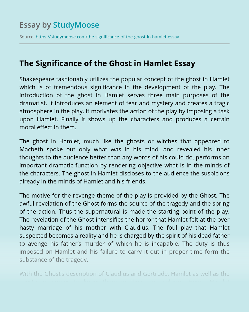 The Significance of the Ghost in Hamlet