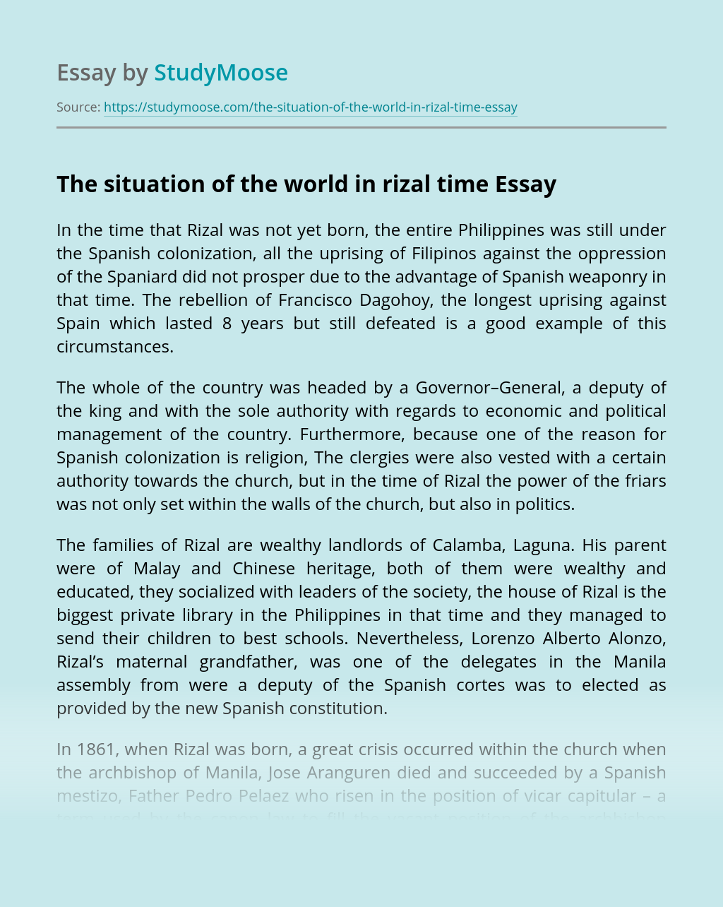 The situation of the world in rizal time