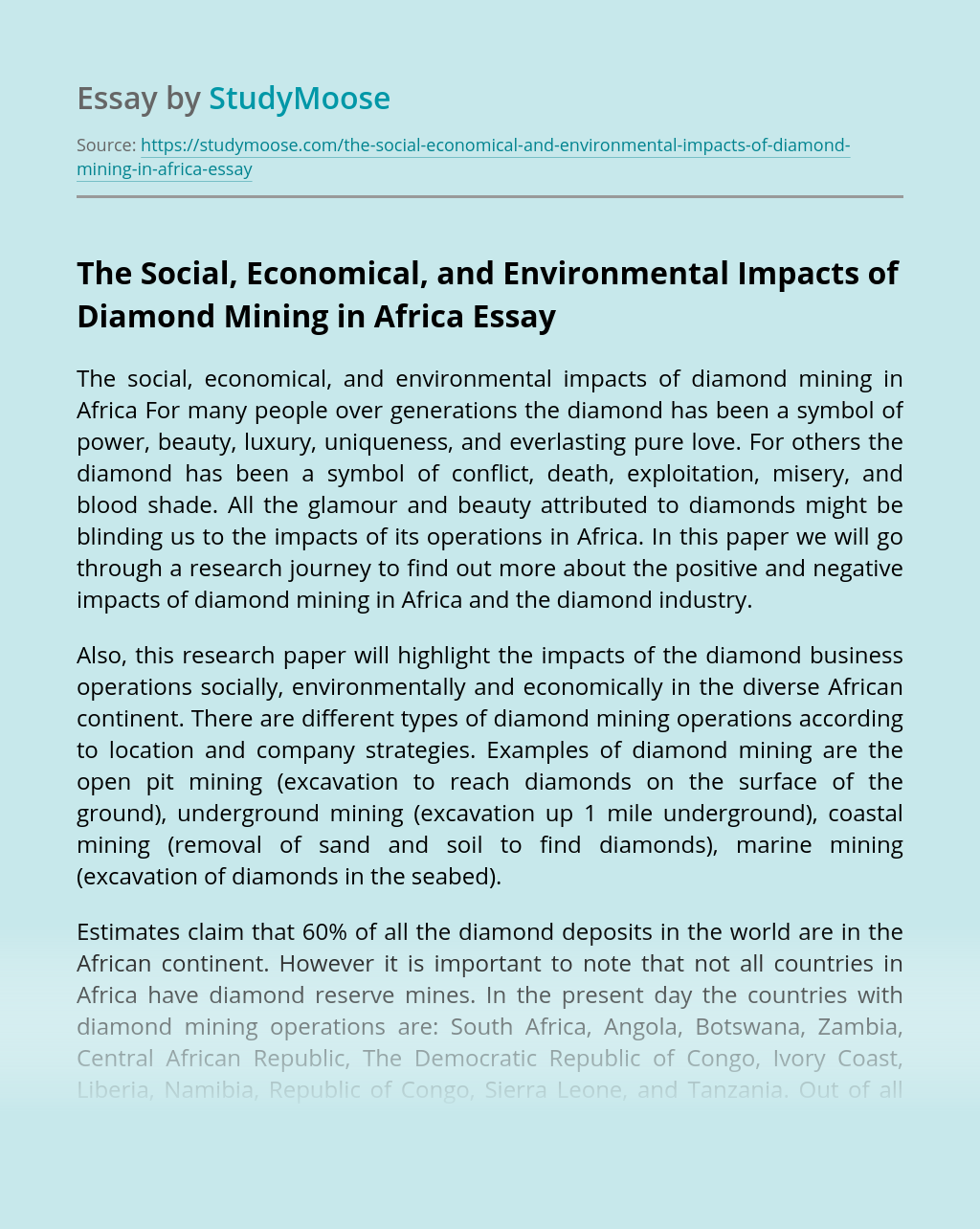 The Social, Economical, and Environmental Impacts of Diamond Mining in Africa