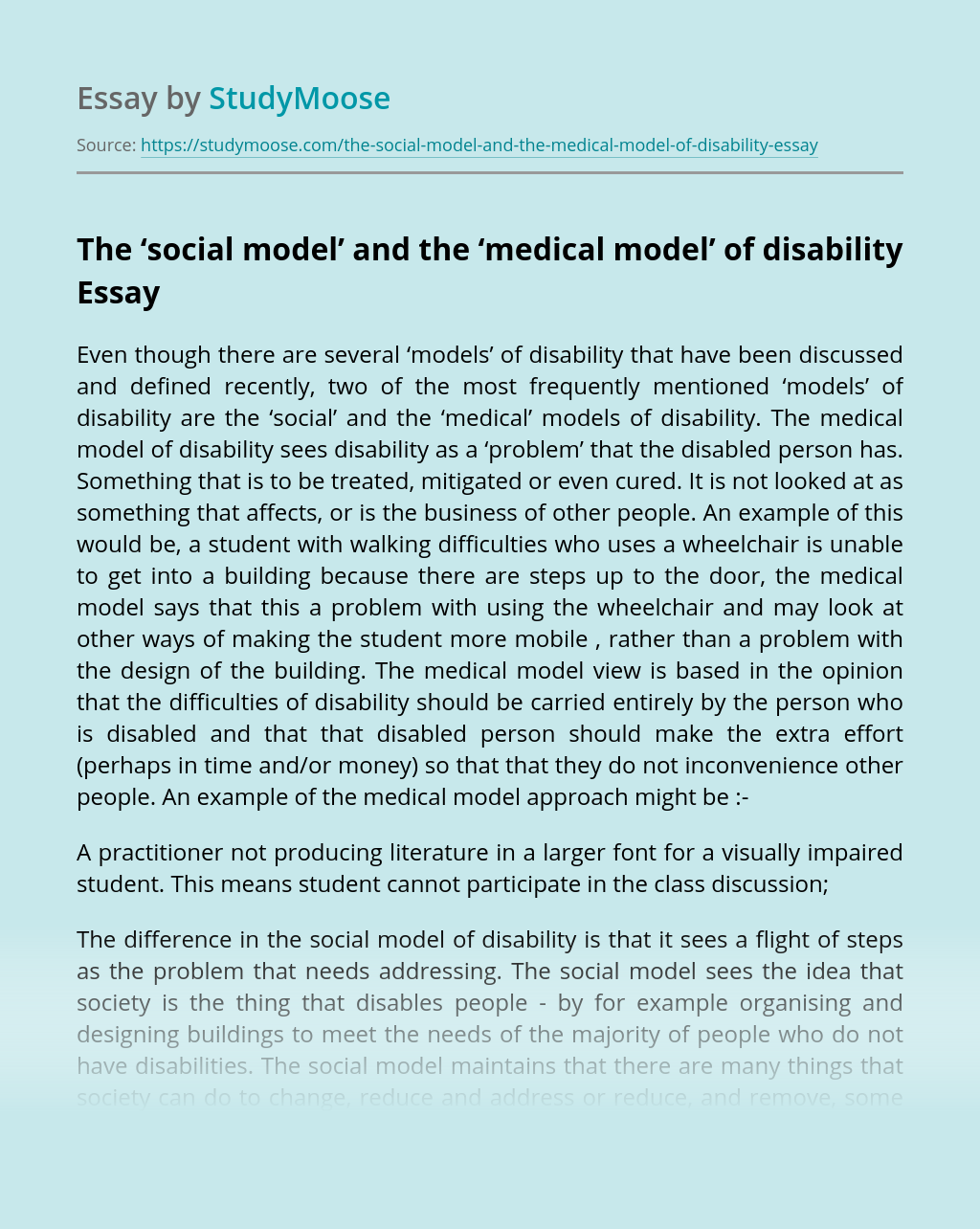 The 'social model' and the 'medical model' of disability