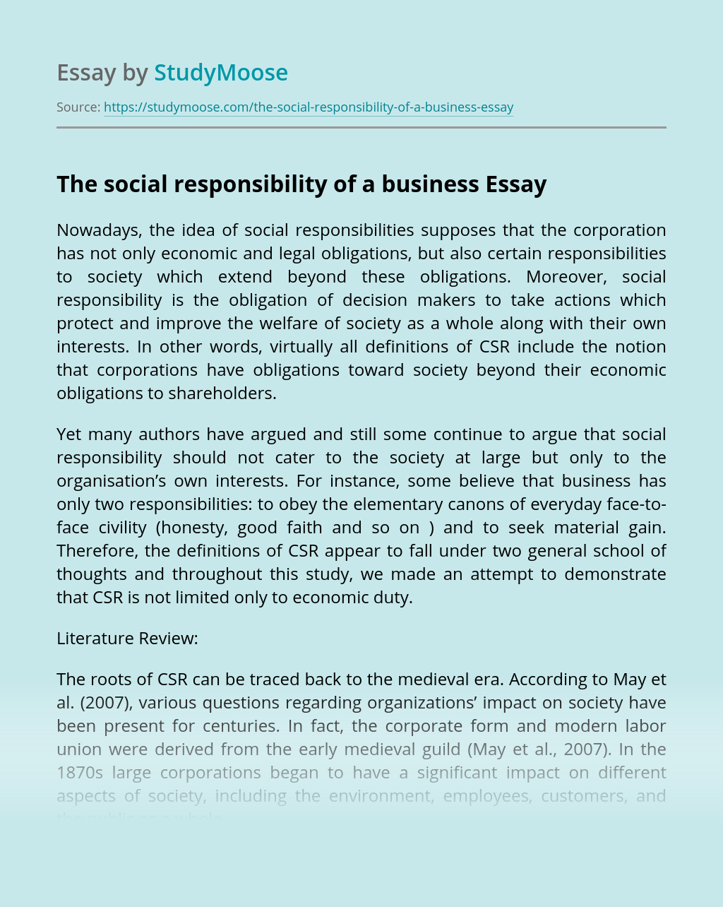 The social responsibility of a business