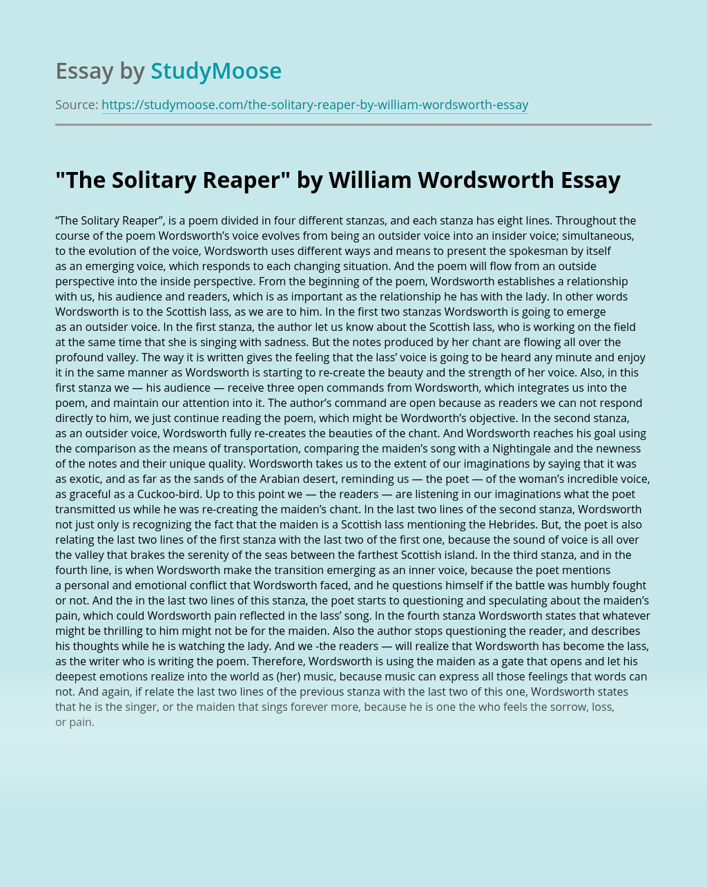 """""""The Solitary Reaper"""" by William Wordsworth"""