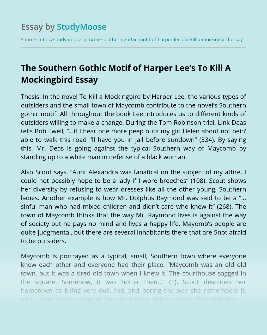?The Southern Gothic Motif of Harper Lee's To Kill A Mockingbird
