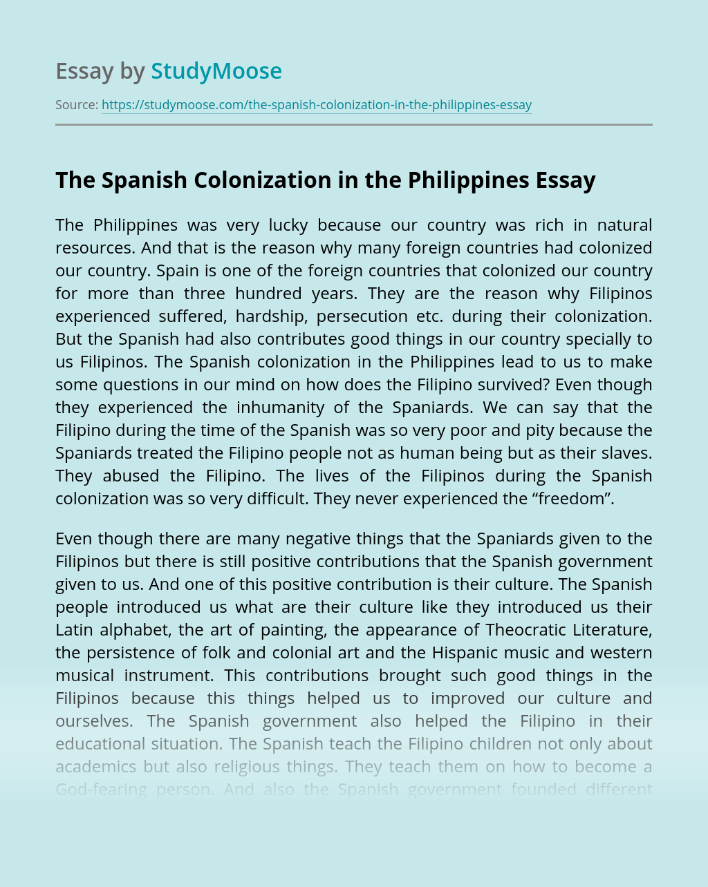 The Spanish Colonization in the Philippines