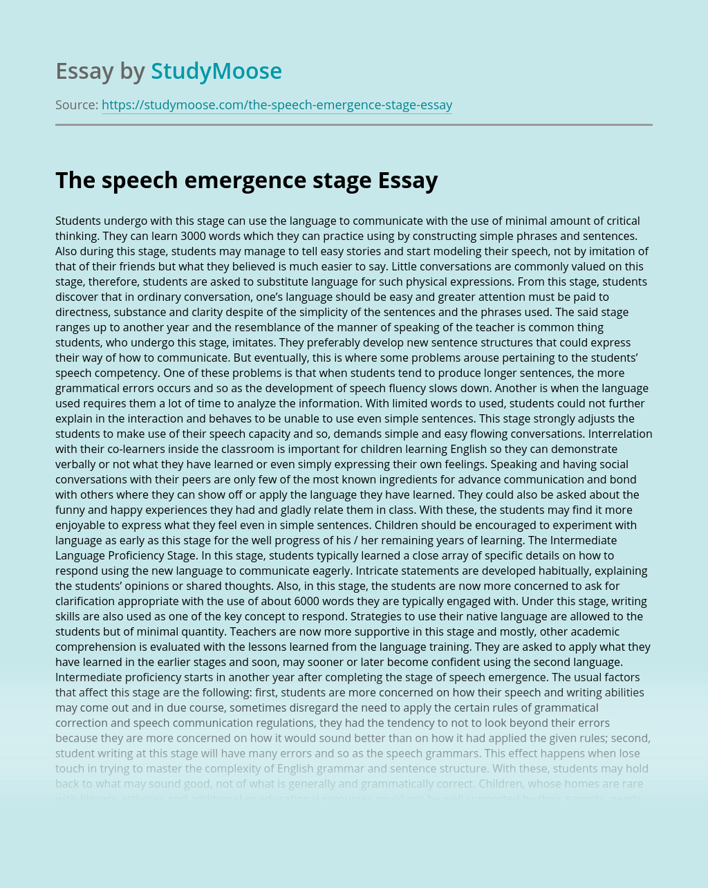 The speech emergence stage