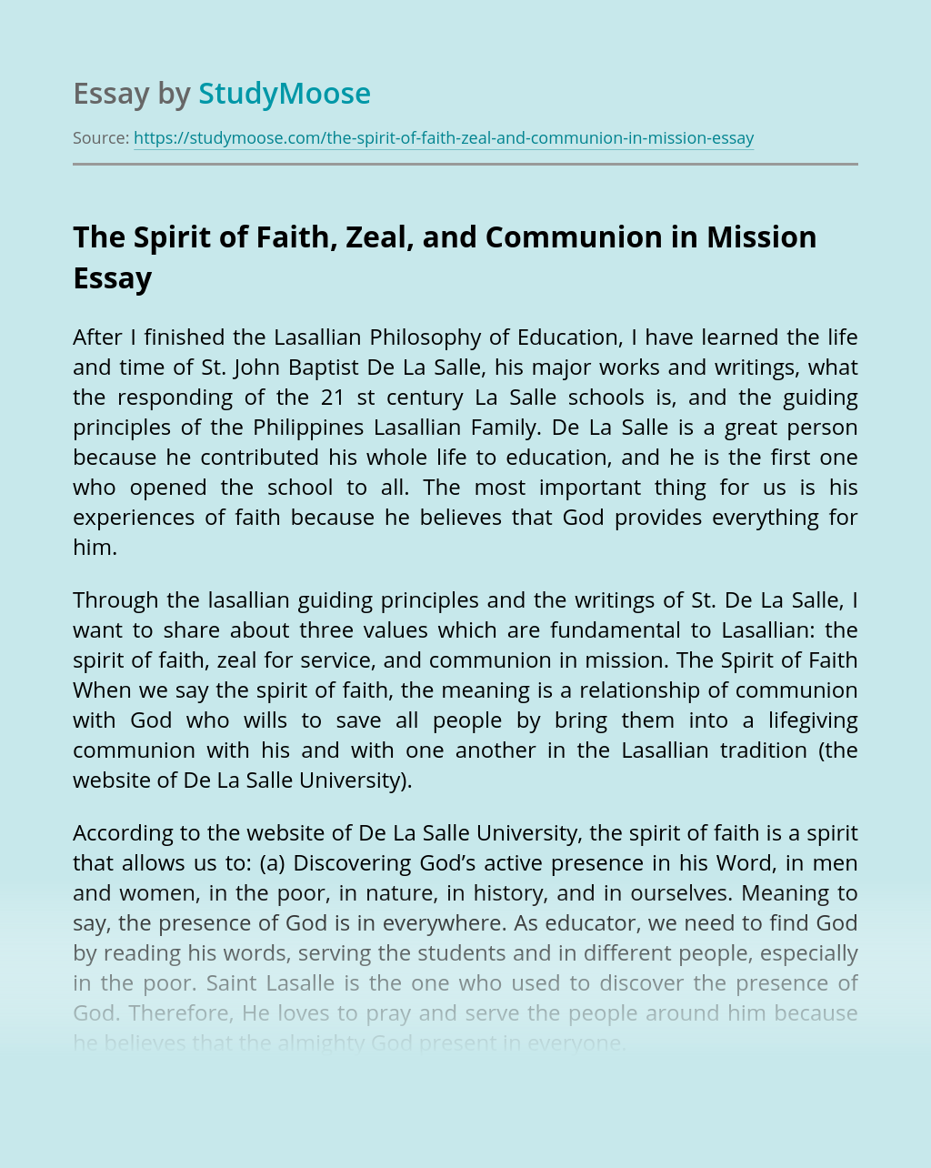 The Spirit of Faith, Zeal, and Communion in Mission