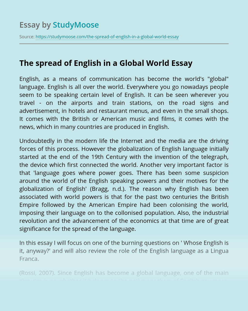 The spread of English in a Global World