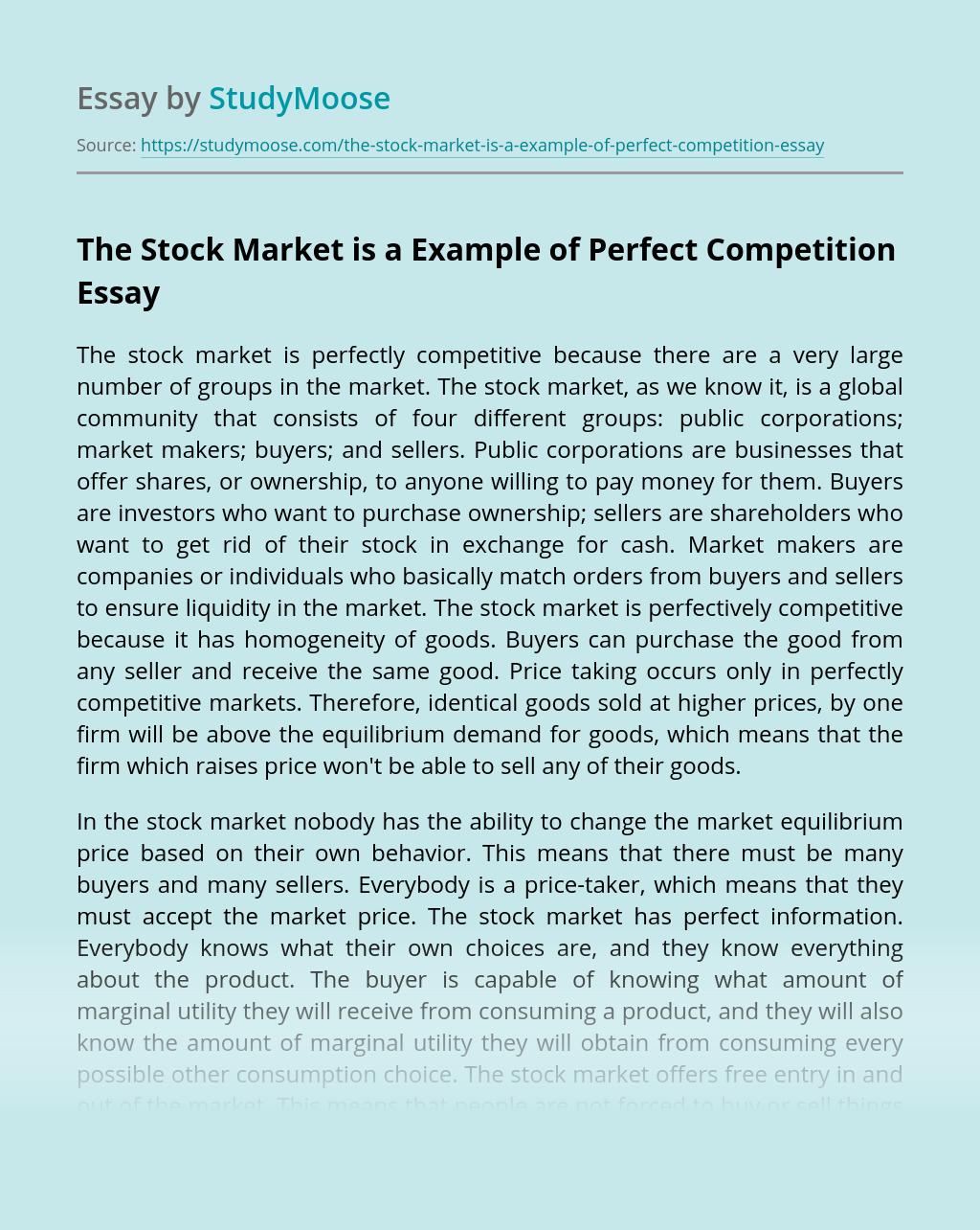 The Stock Market is a Example of Perfect Competition