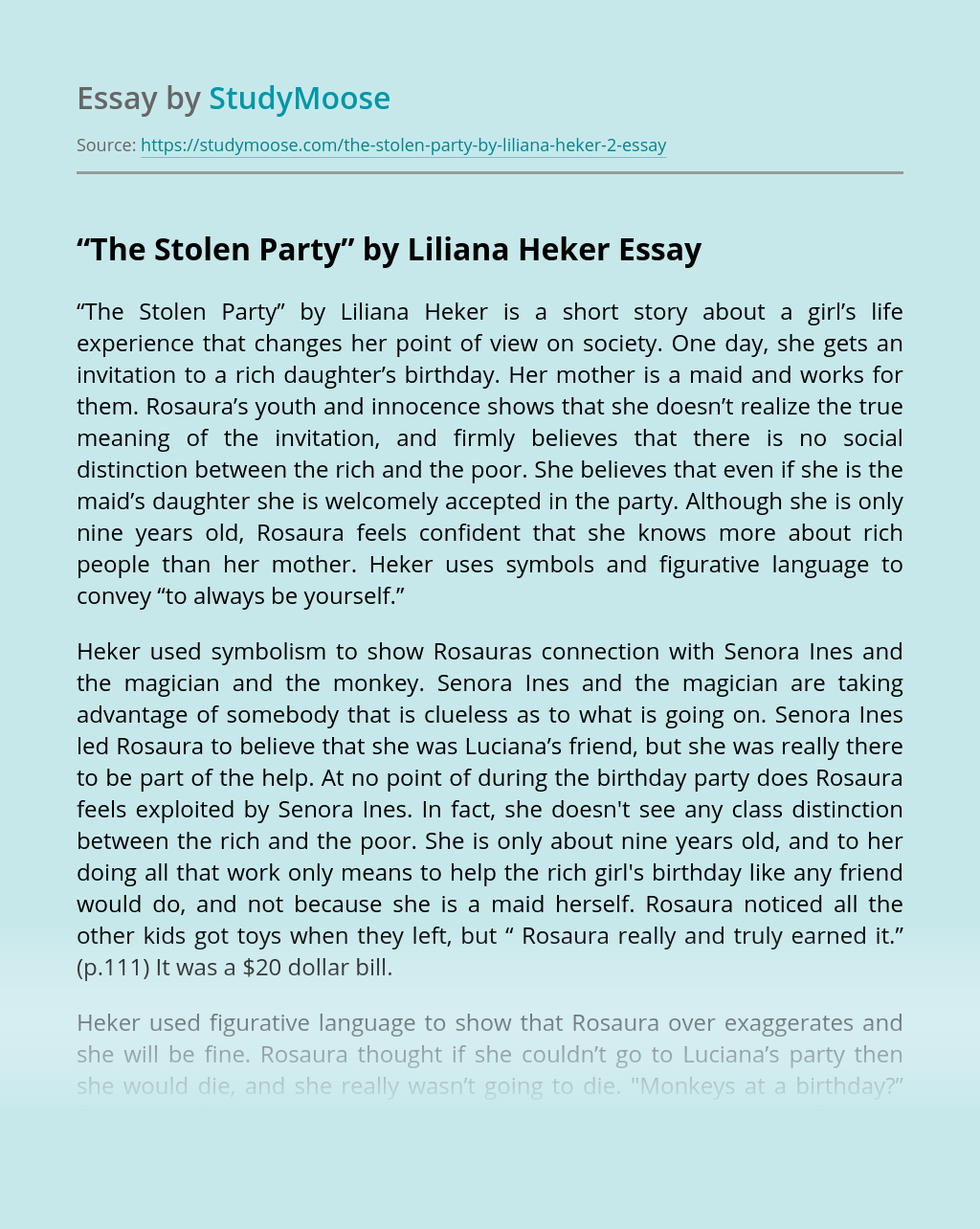 """""""The Stolen Party"""" by Liliana Heker"""