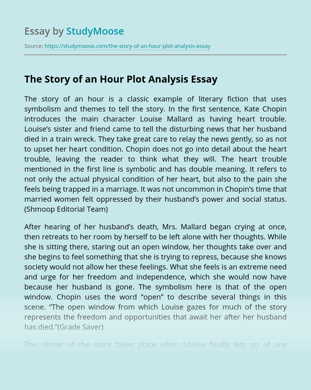 The Story of an Hour Plot Analysis