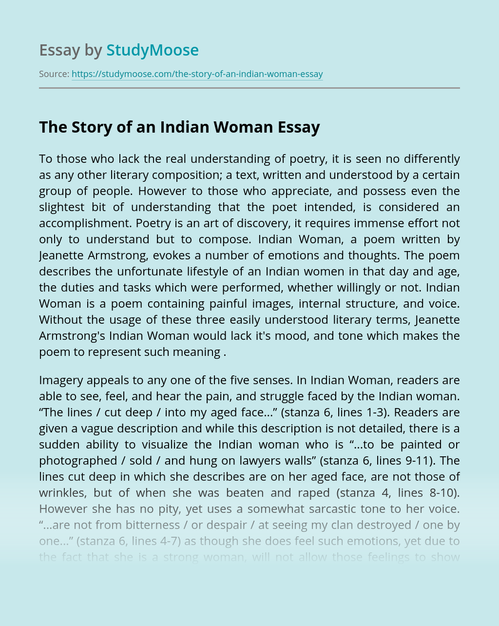 The Story of an Indian Woman