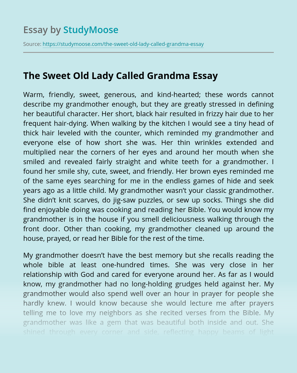 The Sweet Old Lady Called Grandma