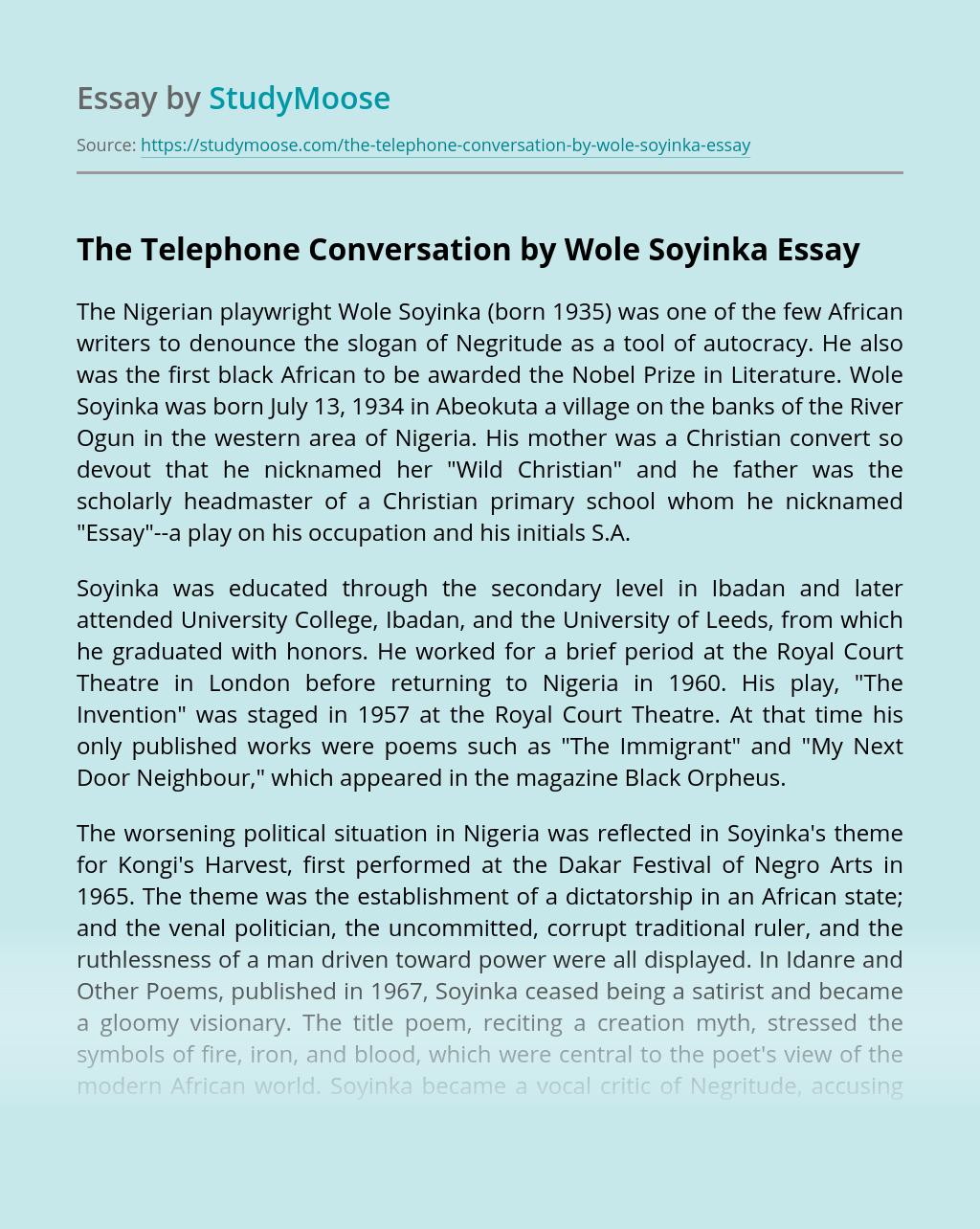 The Telephone Conversation by Wole Soyinka