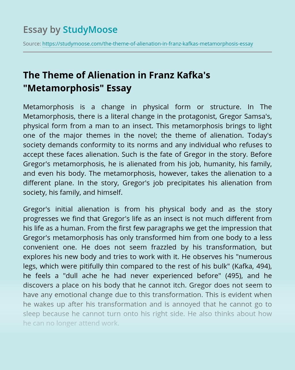 "The Theme of Alienation in Franz Kafka's ""Metamorphosis"""