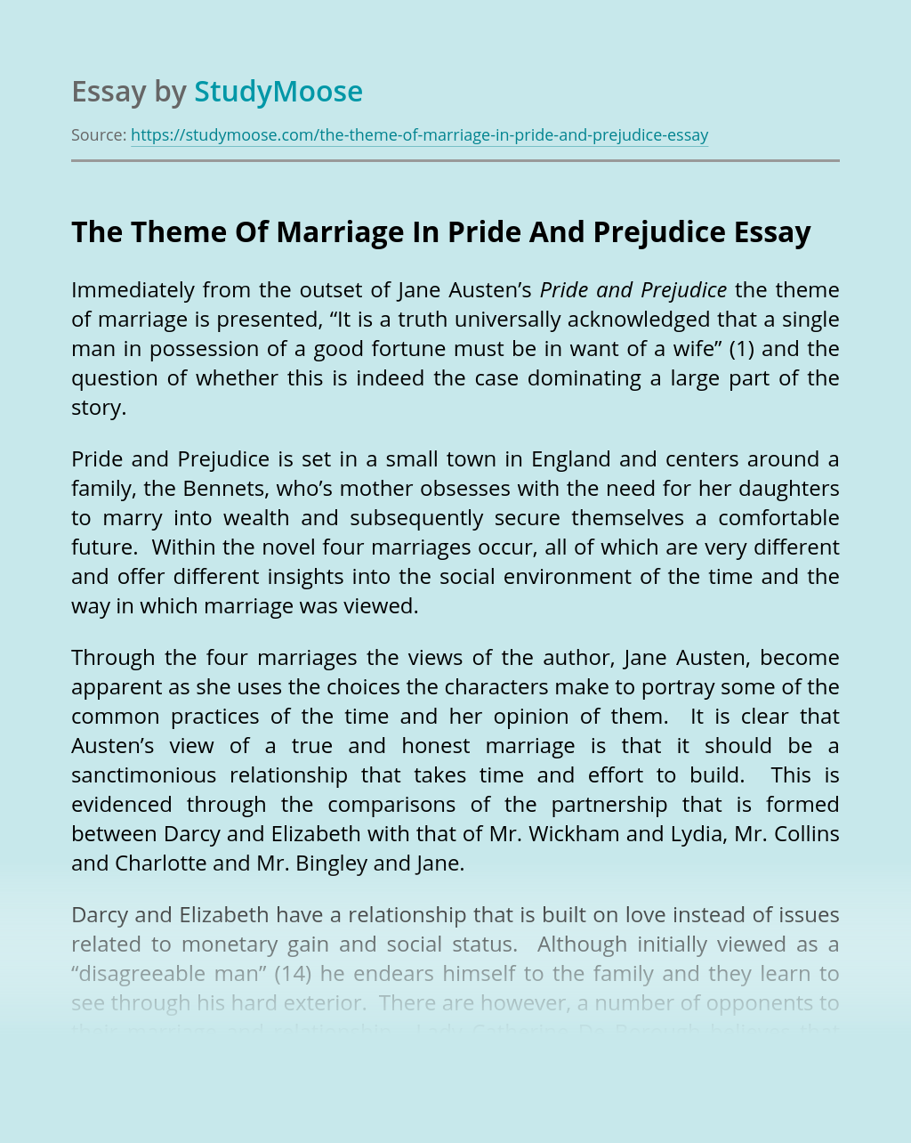 The Theme Of Marriage In Pride And Prejudice