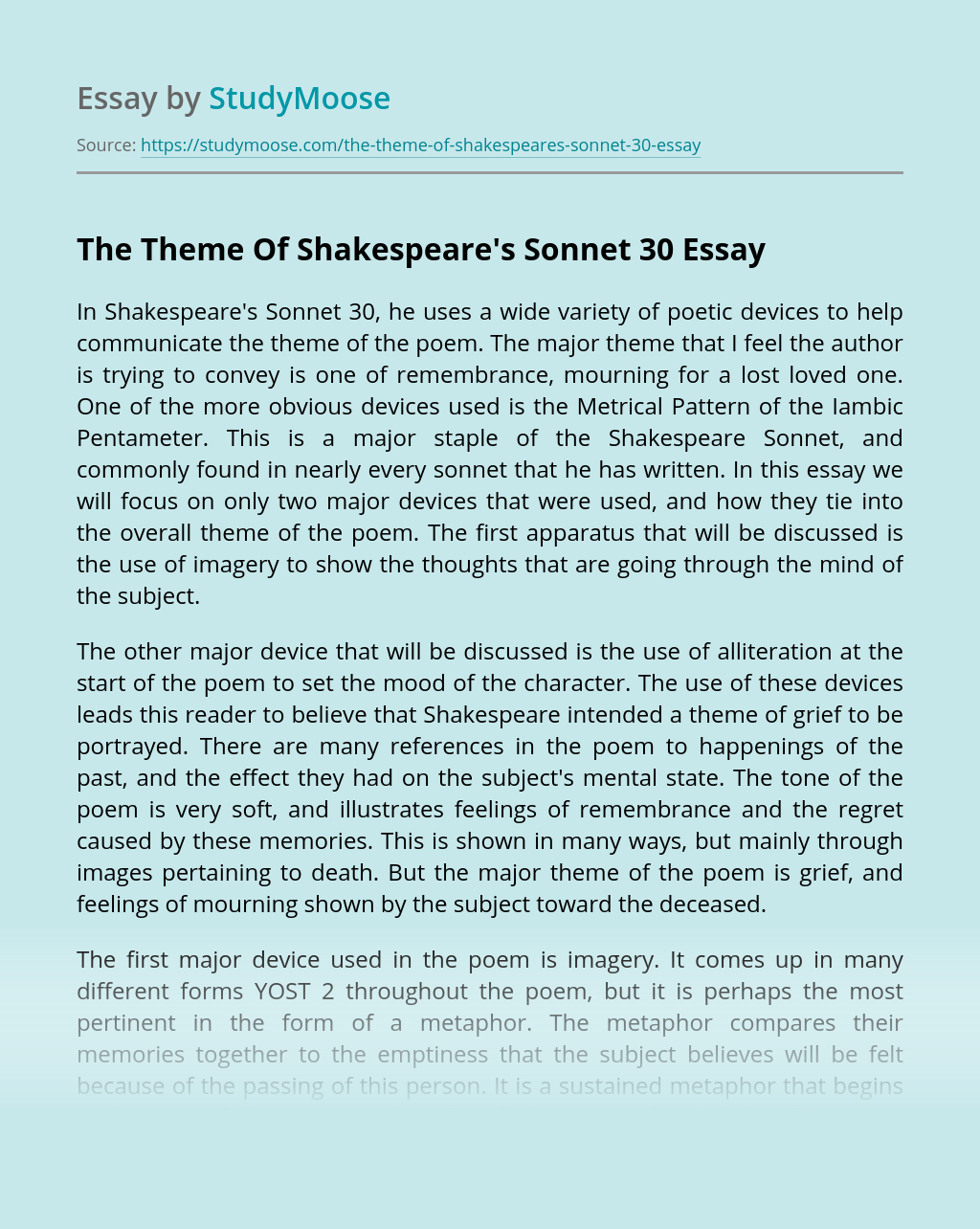 The Theme Of Shakespeare's Sonnet 30