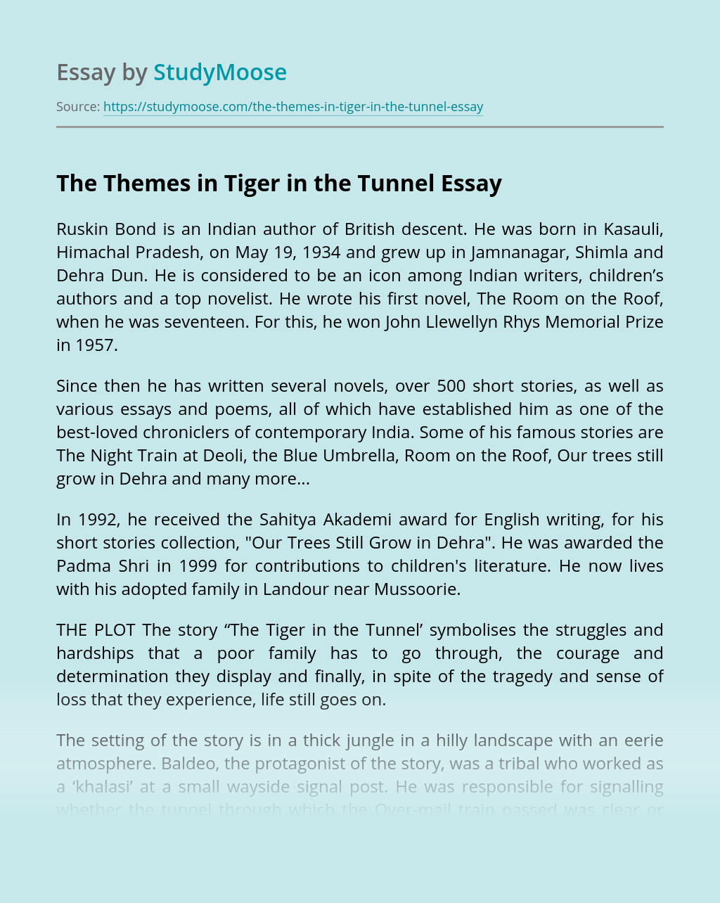 The Themes in Tiger in the Tunnel